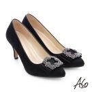 A.S.O 經典晚宴 閃亮絨面真皮水鑽蝴蝶結高跟鞋 黑