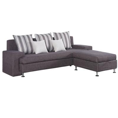 品家居 路易絲L型布面沙發(三人座+收納腳凳)