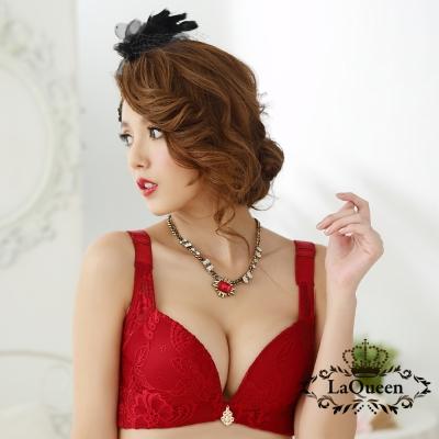 內衣  典雅蕾絲無鋼圈成套內衣-紅 La Queen