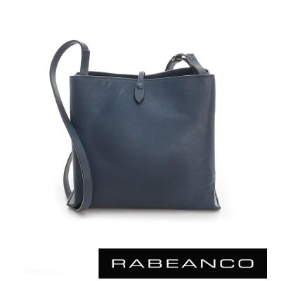 RABEANCO 迷時尚牛皮系列經典方型肩背包(大) - 深藍