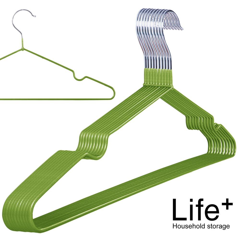 Life Plus 輕巧PVC環保浸膠不鏽鋼防滑衣架_草綠(1組10入)