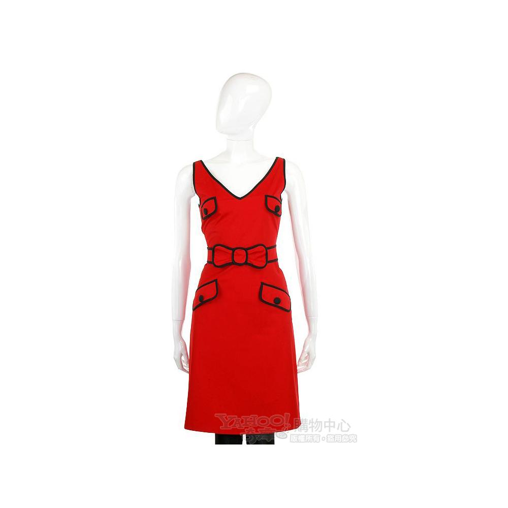 MOSCHINO 紅色蝴蝶結飾多口袋V領洋裝