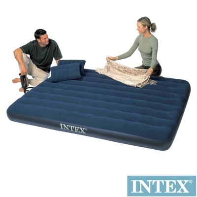 INTEX 雙人加大植絨充氣床-寬152cm-特惠組(附手壓幫浦+枕頭*2)(68765)