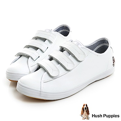 Hush Puppies 質感真皮咖啡紗魔鬼氈休閒鞋-白色