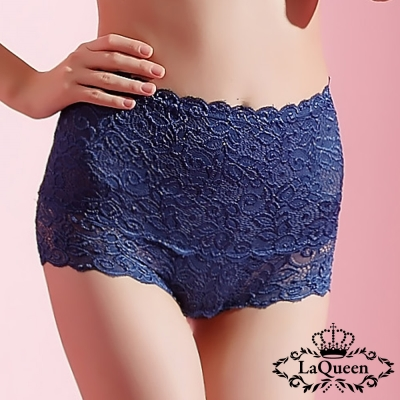 塑褲  蕾絲中高腰蠶絲膠原蛋白塑褲-寶藍 La Queen