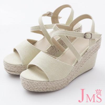 JMS-日雜款百搭素面交差環裸楔型涼鞋-杏色