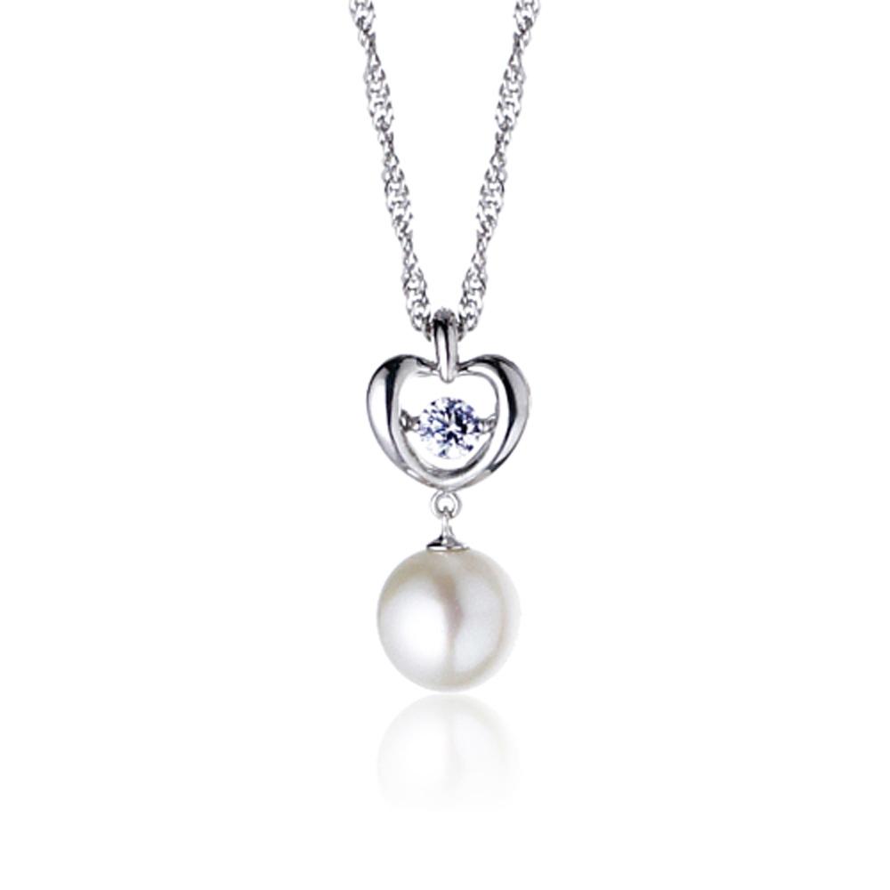 【大東山珠寶】淡水珍珠純銀晶鑽墬飾 迷戀之舞
