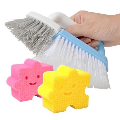 【特惠組】日本AISEN兩用機能磁磚清潔刷+黏貼式拼圖海綿刷