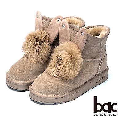 bac巧思造型兔兔造型保暖雪靴-卡其