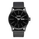 NIXON SENTRY LEATHER 冷冽爵士時尚腕錶-黑