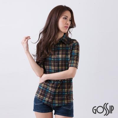 Gossip-率性格紋短袖襯衫