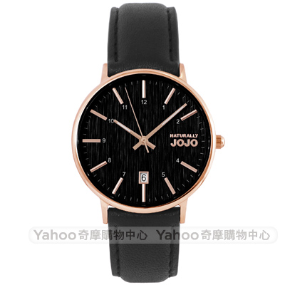 NATURALLY JOJO 質感簡約時尚真皮手錶女錶-黑X玫瑰金/36mm
