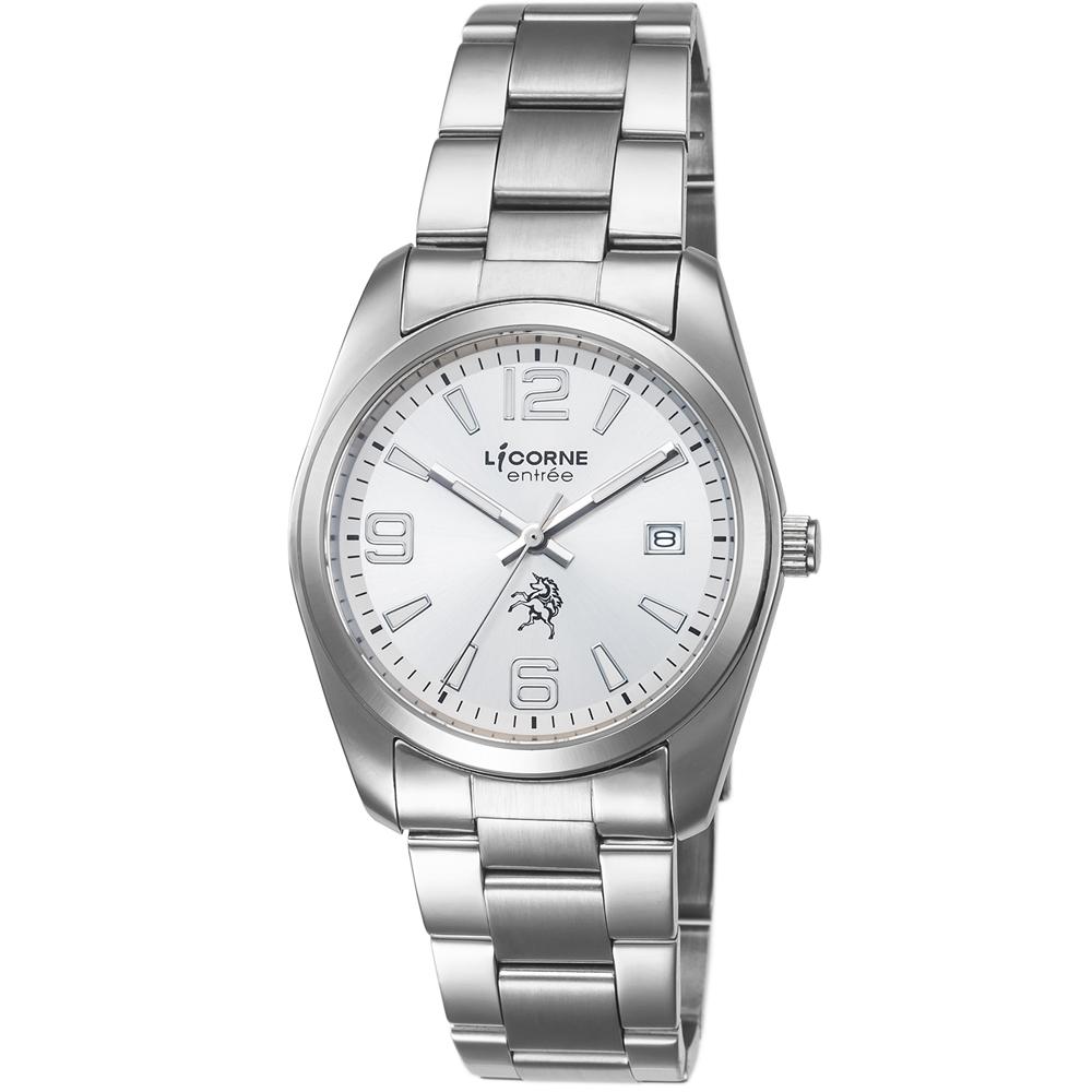 LICORNE 恩萃 Entree 簡約時尚設計都市腕錶-白x白/36mm