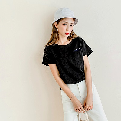 台灣製造.點點拼接口袋側襬抽皺純色竹節棉T恤.4色-OB嚴選