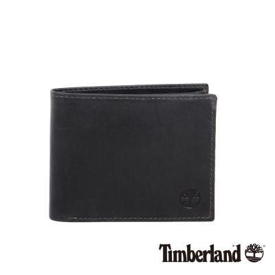 Timberland 男女款耐磨黑色牛皮短夾錢包