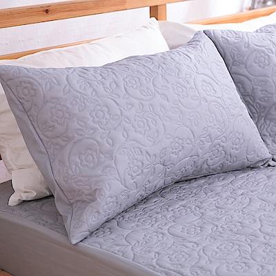 eyah宜雅 吸濕排汗大和防蹣抗菌雙效 信封式枕頭保潔墊2入(氣質灰)