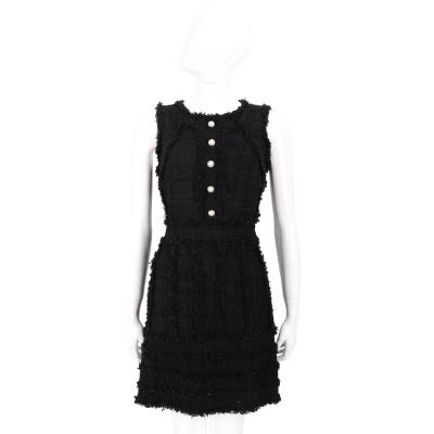 EDWARD ACHOUR PARIS 黑色不修邊設計珍珠釦飾無袖洋裝
