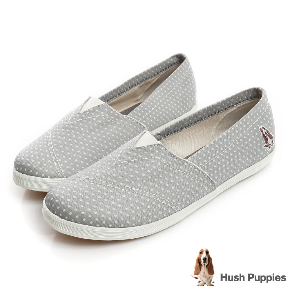 Hush Puppies 金屬感洞洞咖啡紗懶人鞋-淺灰