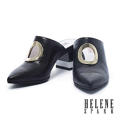 拖鞋 HELENE SPARK 俐落簡約鏤空金屬圓環牛皮穆勒高跟拖鞋-黑