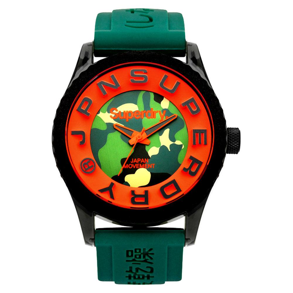 Superdry 極度乾燥 急速衝刺 矽膠 運動腕錶-黑帶/迷彩綠面/45mm