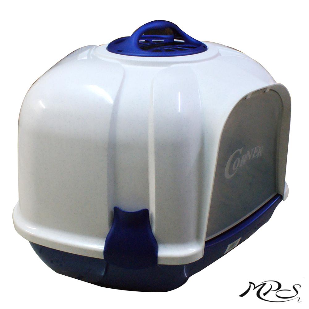 MPS2 意大利原裝 CORNER 角落型全罩貓砂盆-藍點白
