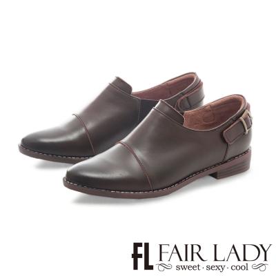 Fair Lady 後釦式設計帥氣男孩風皮鞋 橄欖綠
