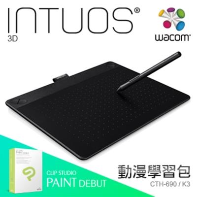 【漫畫學習組】Wacom Intuos 3D 創意觸控繪圖板-經典黑(M)