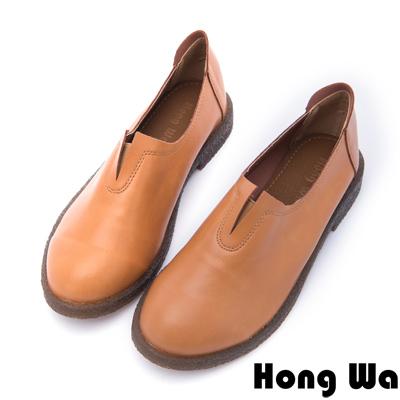 Hong Wa - 素面設計保暖休閒懶人便鞋 - 咖