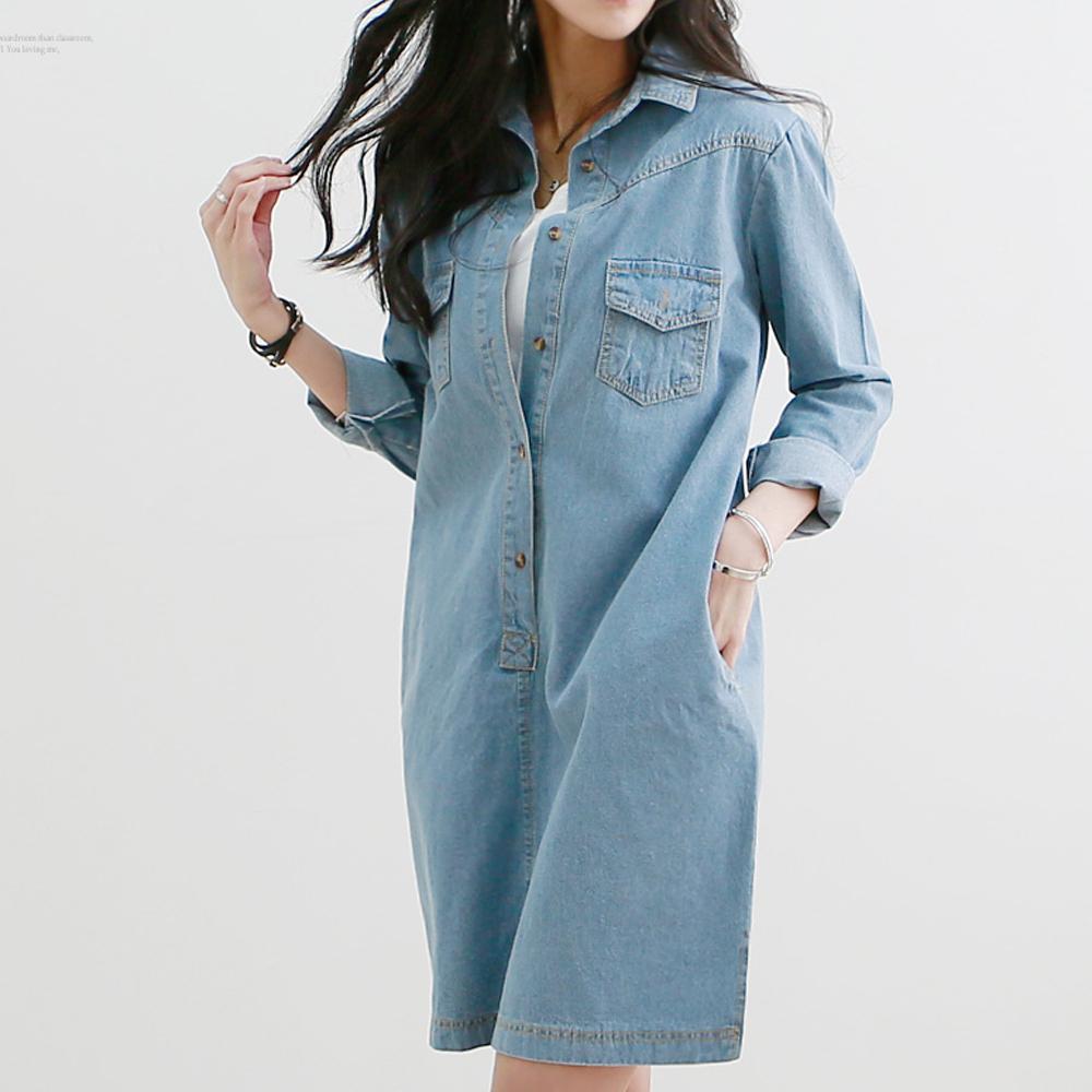 正韓 縫線牛仔襯衫短裙洋裝 (共二色)-N.C21