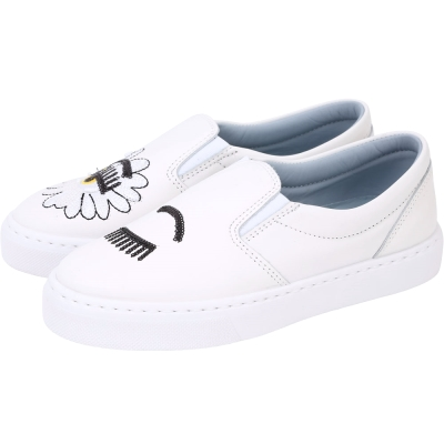 Chiara Ferragni Wonderland 雛菊縫製亮片眨眼厚底鞋(白色)