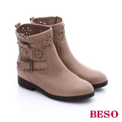 BESO 簡約知性 羊皮雕花條帶釦短靴  卡其色