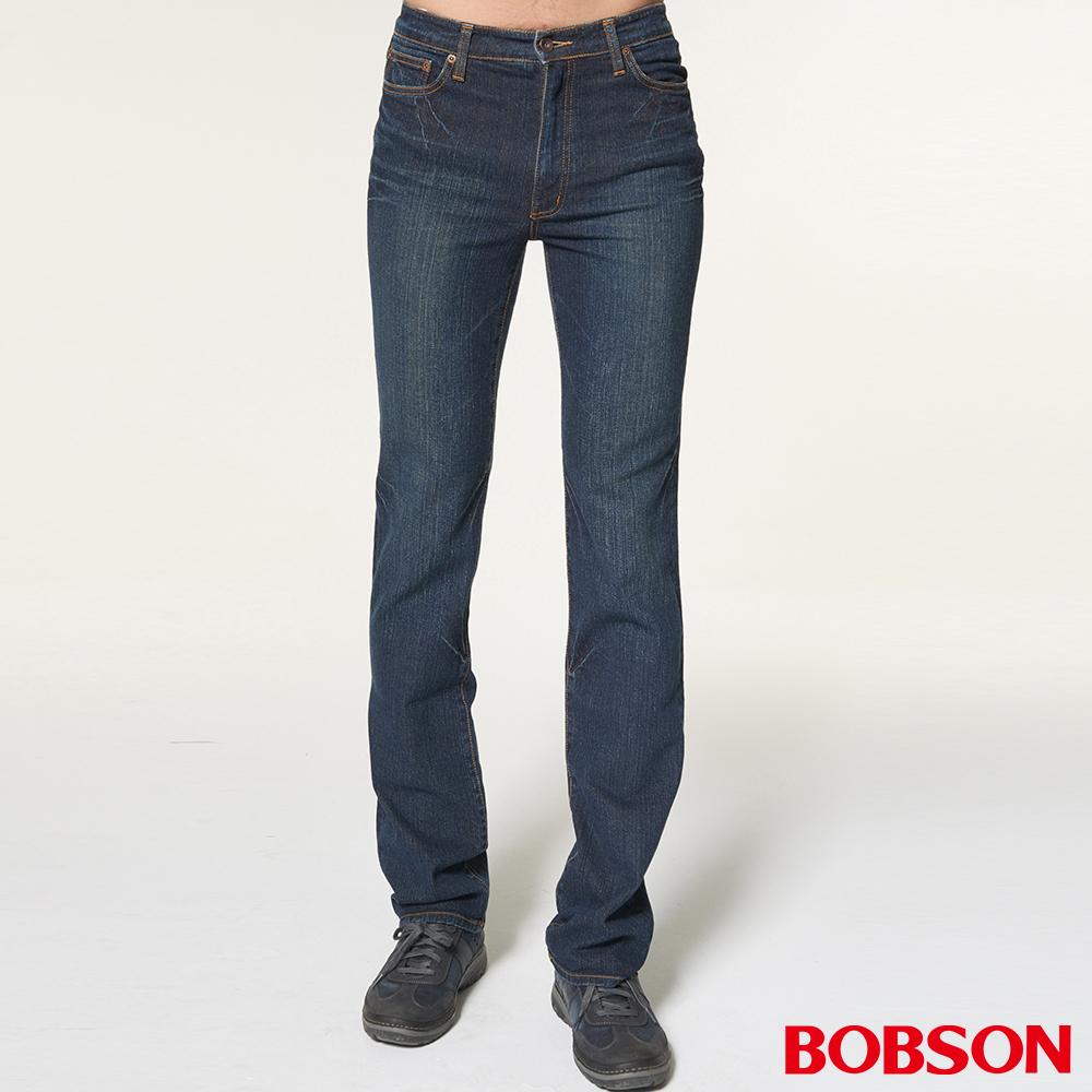 BOBSON 男款基本款深藍直筒褲