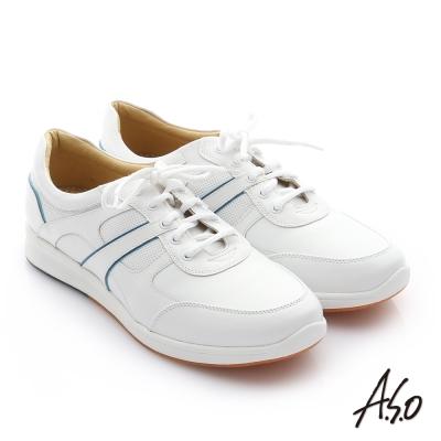 A.S.O 活力勁步 牛皮奈米綁帶雙色休閒鞋 白色