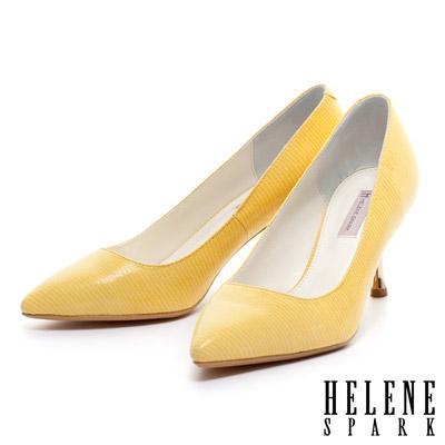 HELENE-SPARK-蜥蜴貼膜羊皮素面尖頭金屬高跟鞋-黃