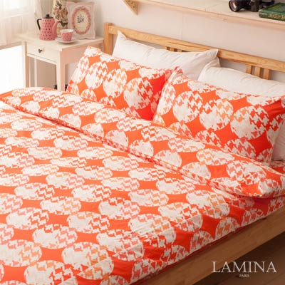 LAMINA-飛鳥-紅-雙人加大三件式純棉床包組