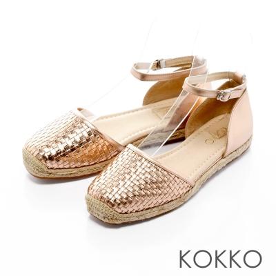 KOKKO-異國渡假編織真皮舒壓平底方頭鞋-玫瑰金