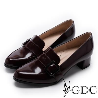 GDC-英倫真皮漆面側方釦尖頭低跟鞋-酒紅色