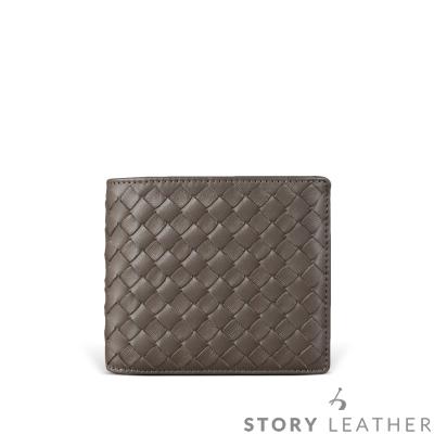STORY皮套王 小羊皮編織短夾 00163-C28 深鐵灰色現貨