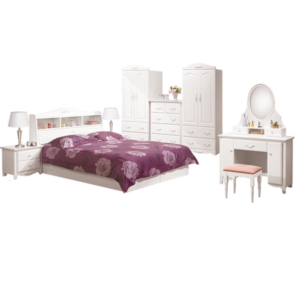 ROSA羅莎 卡希絲白色5尺雙人床房間組(不含床墊)