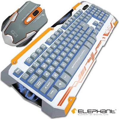 ELEPHANT 龍戰系列 龍鱗半機械式電競鍵盤滑鼠組 白色(GKM001W)