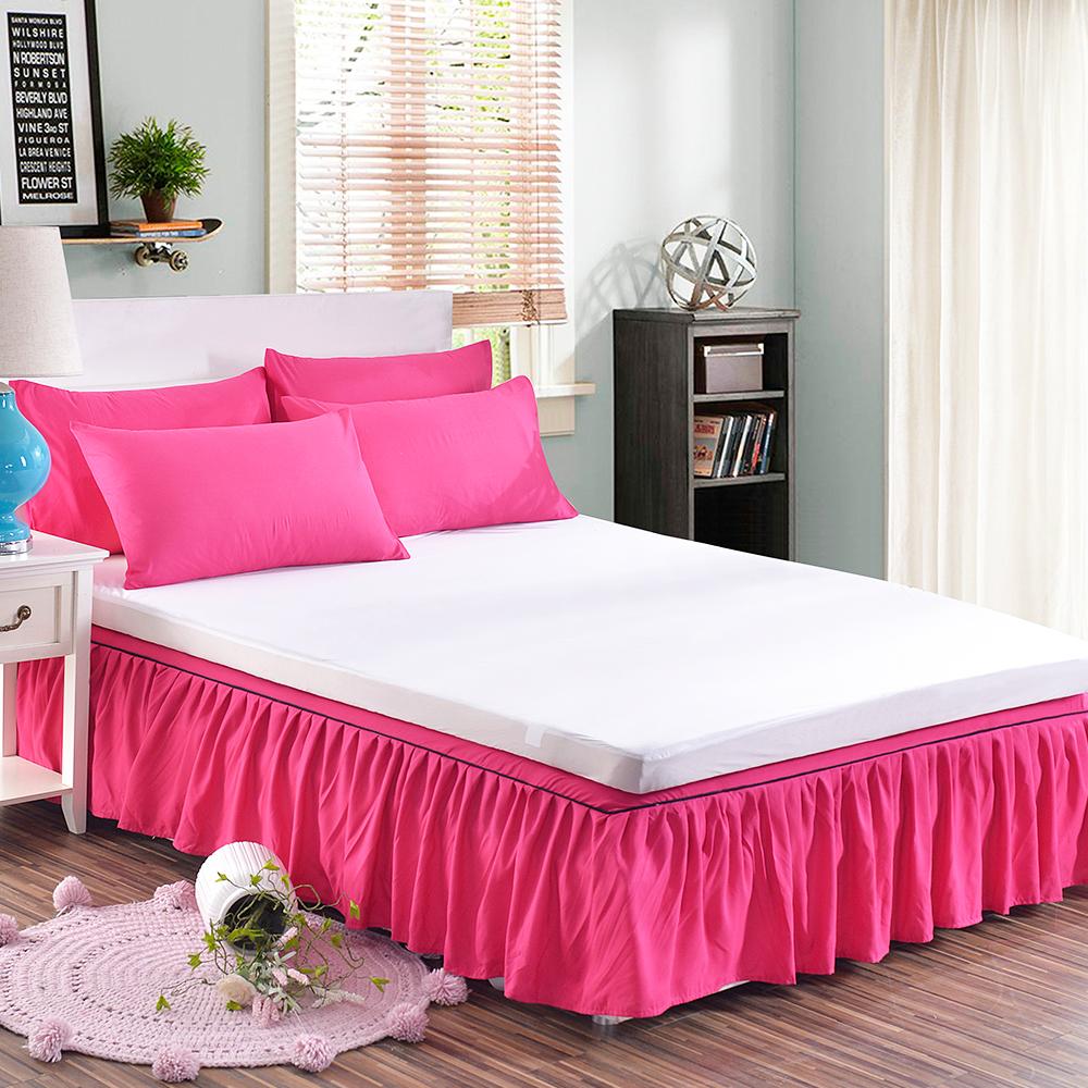 HUEI生活提案 韓系玩色三件式枕套床裙組 雙人 玫紅