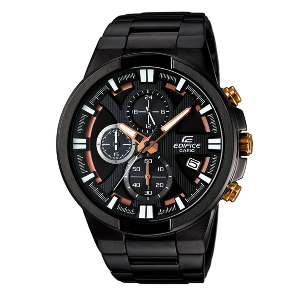 EDIFICE零件組結構流線感運動風腕錶(EFR-544BK-1A9)-黑x金邊/47.9mm