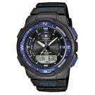 CASIO 輕巧登山王者風範戶外運動雙顯錶(SGW-500H-2B)-黑x藍框/46.8m