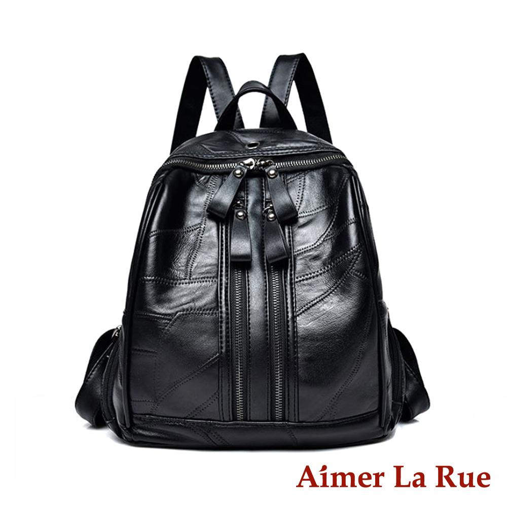 Aimer La Rue 後背包 羊皮極簡歐風系列(黑色)