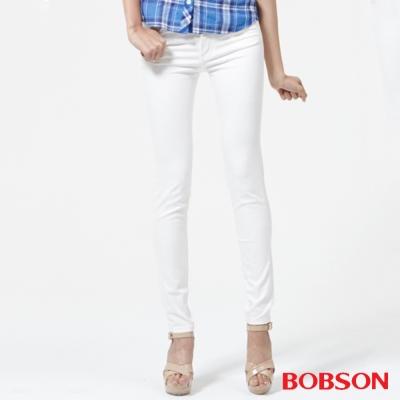 BOBSON 女款高腰膠原蛋白.彩色小直筒褲-白色