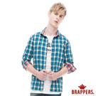 BRAPPERS 男款 英倫街頭正反兩穿配色格子長袖襯衫-藍