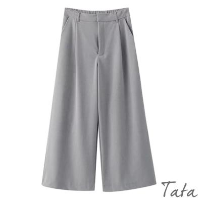 鬆緊腰九分寬褲-TATA