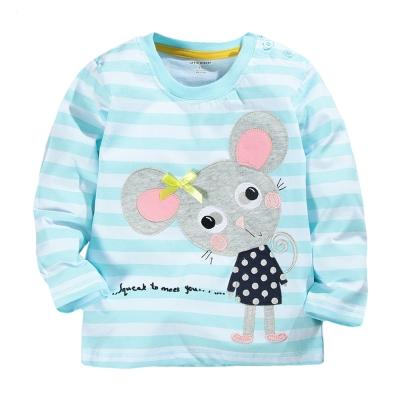歐美風 藍色條紋鼠 女童純棉長袖T恤