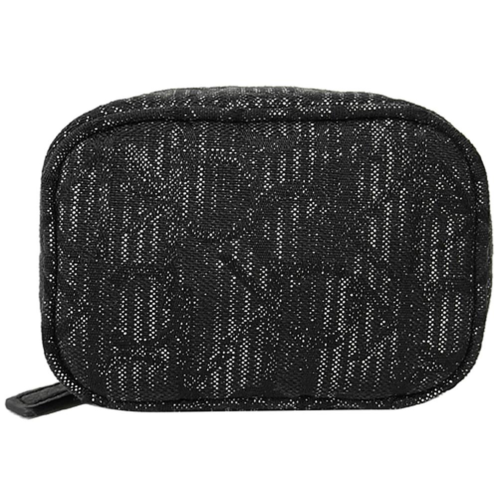 Calvin Klein CK亮絲黑色Logo小型萬用收納包