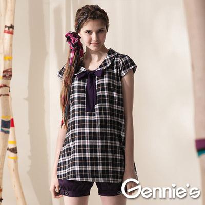 【Gennie's奇妮】英倫學院格紋襯衫秋冬孕婦 長版上衣-紫(G3404)
